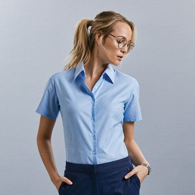 Russell Collection Women's short sleeve Oxford shirt