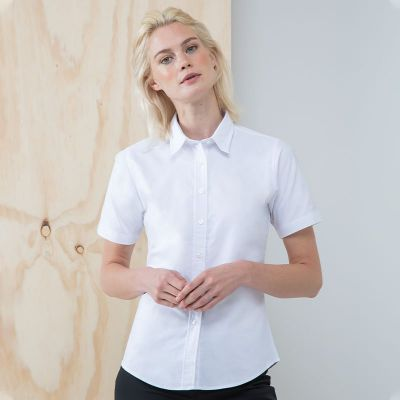 Henbury Women's short sleeve classic Oxford shirt