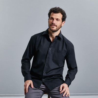 Russell Collection Long sleeve pure cotton easycare poplin shirt
