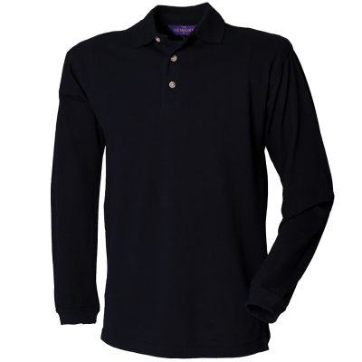 Henbury Long Sleeve Cotton Pique Polo Shirt
