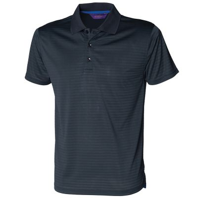 Henbury Cooltouch Textured Stripe Pique Polo Shirt