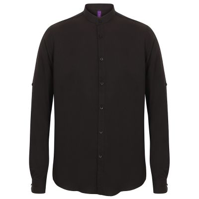 Henbury Mandarin shirt with roll-tab sleeve