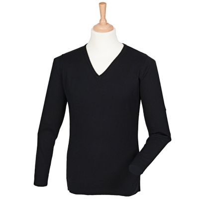 Henbury Cashmere touch acrylic v-neck jumper