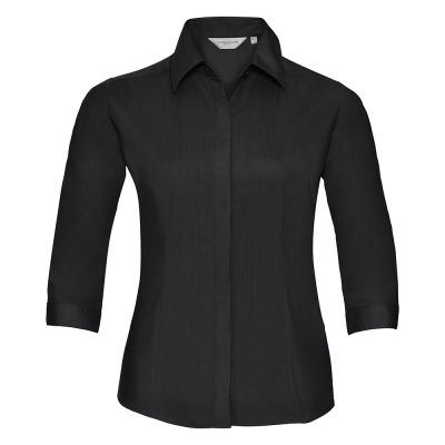 Russell Collection Women's 3/4 sleeve polycotton easycare fitted poplin shirt