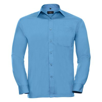 Russell Collection Long sleeve polycotton easycare poplin shirt