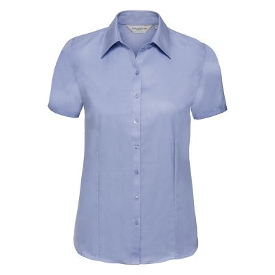 Russell Collection Women's short sleeve herringbone shirt