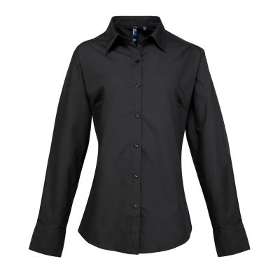 Premier Ladies Supreme Long Sleeve Poplin Shirt- Plus Sizes