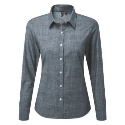 Premier Women's cotton slub chambray long sleeve shirt