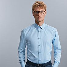 Russell Collection Long sleeve herringbone shirt