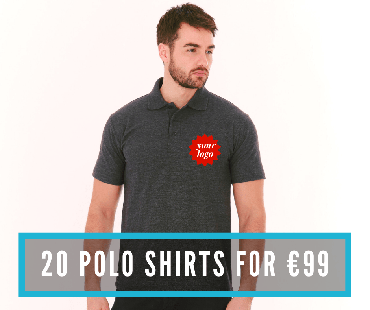 20 polos with printed crest sized logo for €99!