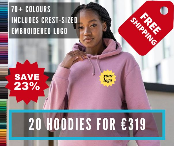20 of our most popular hoodie (JH001) for €319