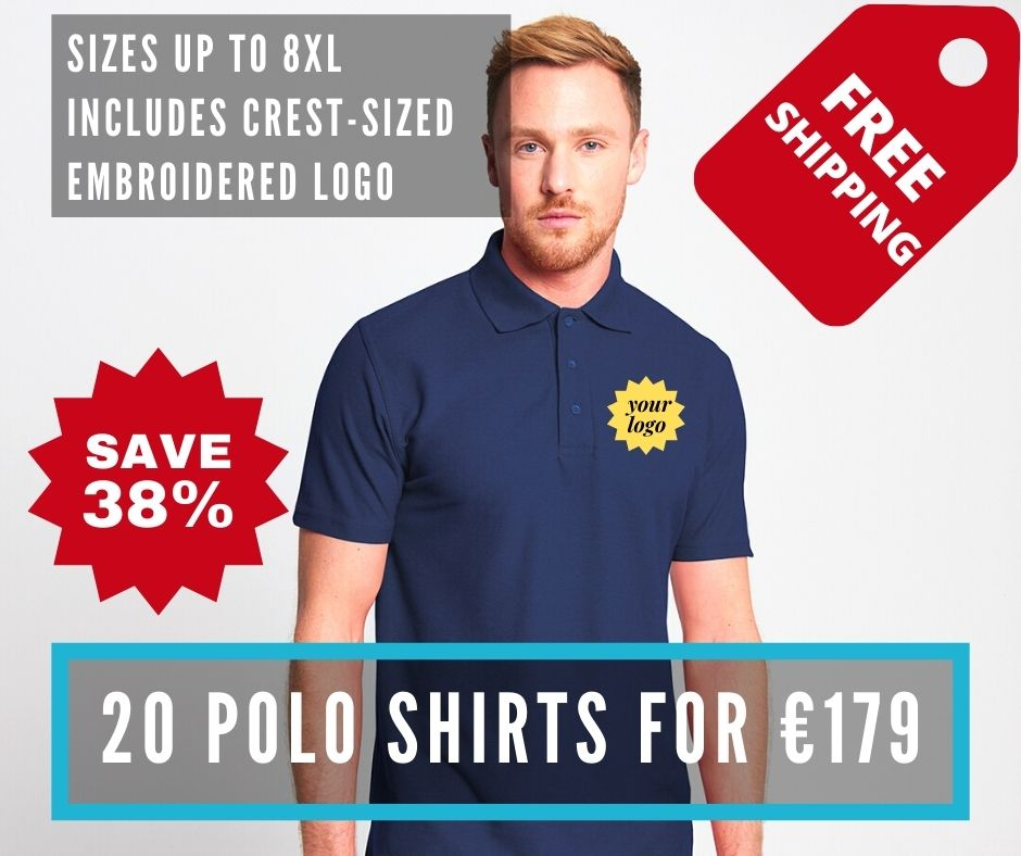 20 polos with embroidered crest sized logo for €179!