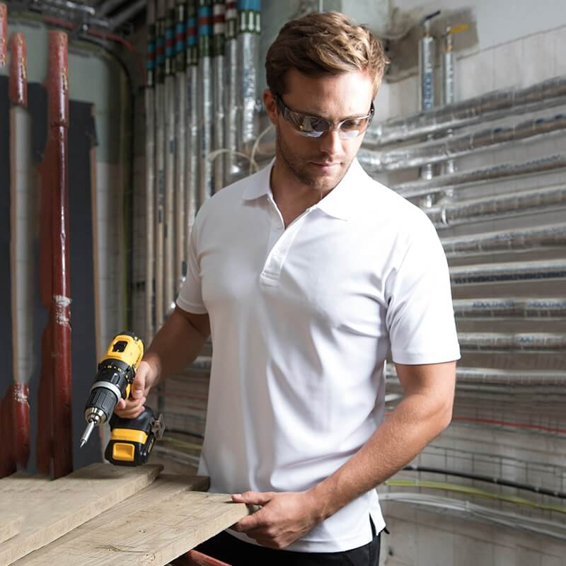 Workwear polo shirts, air wicking, fast drying, sweatproof